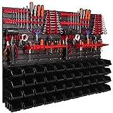 Étagère murale 1152 x 780 mm avec supports à outils, boîtes empilables, caisses de rangement, étagère de rangement murales extra solide, étagère extensible