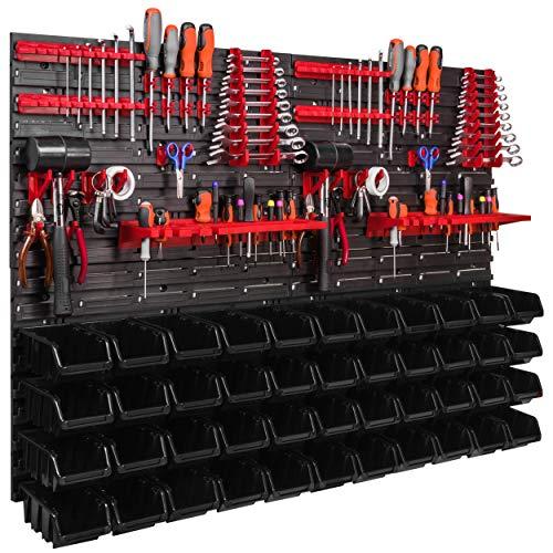 Lagersystem Wandregal 1152 x 780 mm, Werkzeughalterungen, Stapelboxen Schüttenregal Sichtlagerkästen, Extra Starke Wandplatten, Regal Erweiterbar (ITBNN600x4-U2020-NP6-S411)