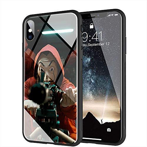 iPhone XR Funda, Cubierta Trasera de Vidrio Templado, Silicona Suave, Compatible con iPhone XR AMB-44 La Casa De Papel