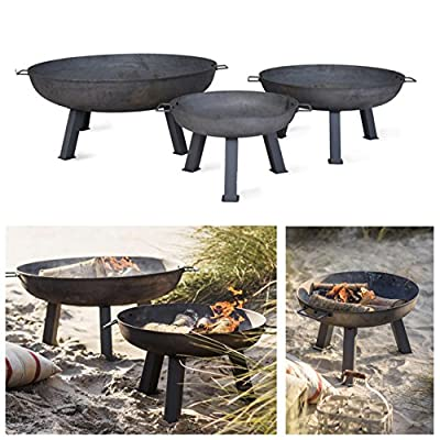 CKB LTD Fire Pit Garden Outdoor Patio ñ LARGE Burner With Handles Rustic Heavy Duty | Free Standing Round Bowl Made From Raw Steel Brazier Available in 3 Sizes (Large - H41.5 x W100 x D100cm) by CKB LTD
