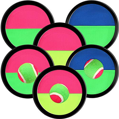 Sumind Gioco della Cattura della Palla con 6 Racchette e 3 Palline, 7.3 Pollci Cattura della Palla Gioco di Sport Set Pagaia Giochi di Cattura attività all'Aperto per Famiglie(Colori Assortiti)
