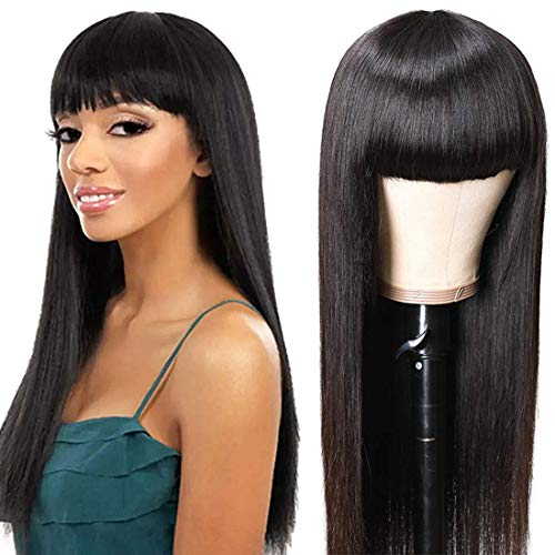 UNice Glueless Straight Human Hair Wigs with Bangs, Mongolian Virgin Hair Full Machine Made None Lace Front Wigs for Black Women 150% Density (18inch)