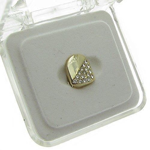 Single Cap Diagonal Half Iced Grillz Gold Plated K9 Canine Tooth Hip Hop Grill Slug