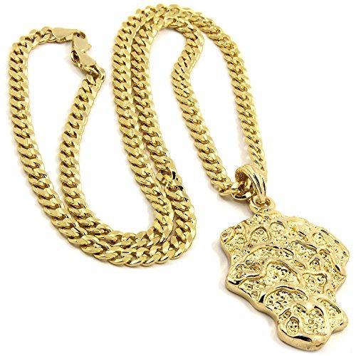 Jewel Town Mens Gold Plated Hip-Hop Gold Nugget Bar Pendant 5mm 24' Cuban Chain Necklace D520