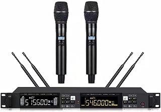 Sistema de micrófono inalámbrico, con micrófonos de mano de metal, 2 x 100 canales, escaneo automático, larga distancia 45...
