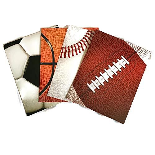 Sports Themed School Supply Bundle: 4 Items: Four Assorted Sports Themed Two Pocket Portfolio Folders