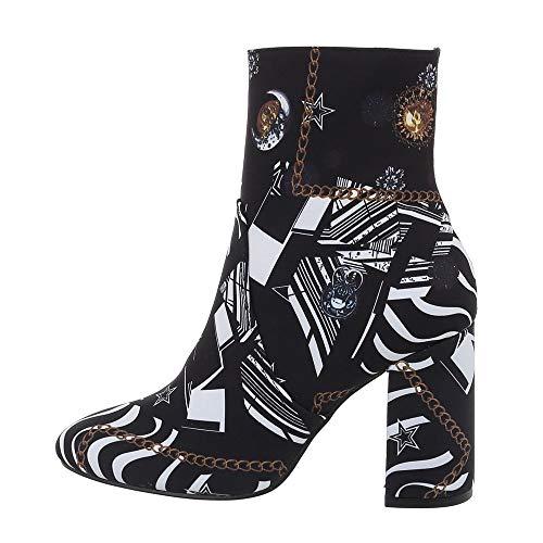 Ital Design Damenschuhe Stiefeletten High Heel Stiefeletten Synthetik Schwarz Weiß Gr. 38