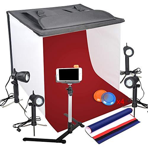 Emart Fotografie - Scatola luminosa per studio fotografico, portatile, pieghevole, con treppiedi per fotocamera e supporto per cellulare e 4 sfondi, 60 x 60 cm