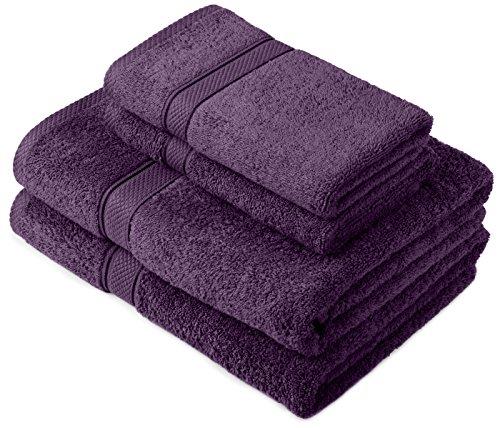 Pinzon by Amazon - Juego de toallas de algodón egipcio (2 toallas de baño y 2 toallas de manos), color morado