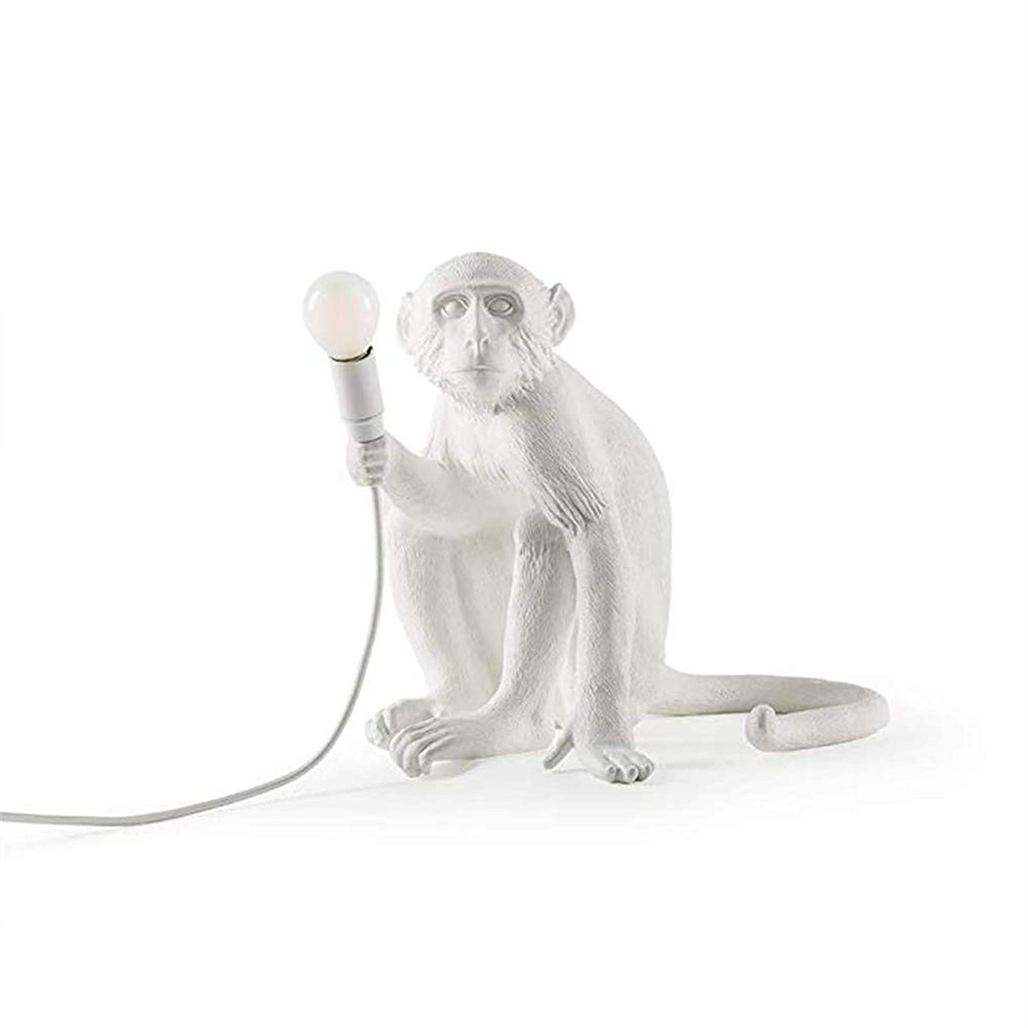 Modern Resin lamp,Sitting Monkey Table Light,Fashion Simple Art Nordic Replicas Sitting Monkey Lamp,Creative Design for Home Lighting Bar Cafe Gift,White