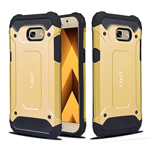J&D Compatible para Galaxy A5 2017 Funda, [Armadura Delgada] [Doble Capa] [Protección Pesada] Híbrida Resistente Funda Protectora y Robusta para Samsung Galaxy A5 (Release in 2017) - Oro
