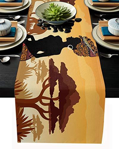 Tischläufer aus Baumwollleinen, afrikanische amerikanische Frau, afroamerikanische Elefant, Giraffe, rutschfest, hitzebeständig, für Familien, Abendessen, Küchentisch, 40,6 x 183,9 cm