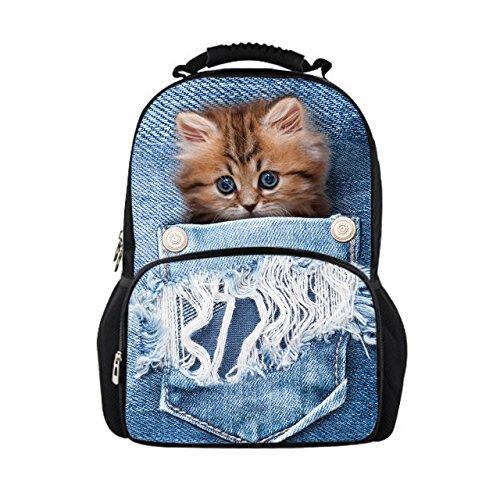 Showudesigns - Mochila para niños, diseño de Gato, Color Azul Multicolor Color 4 Medium