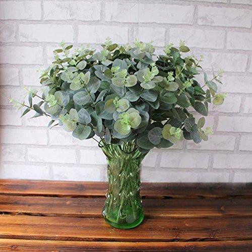 Lenfesh Künstlich Eukalyptus Verlassen, Fake Simulation Blätter Hochzeit Feier Zuhause Dekor (Grün)