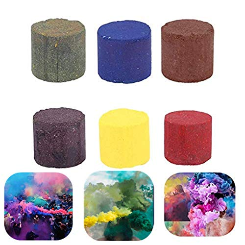 Colorful Smoke Bombs, 1/6 Pcs Smoker Cake Colorful Fog Effect Maker Stage Show Photography Film Background Aid Party Props, Halloween Magic Fog (6 Colors)
