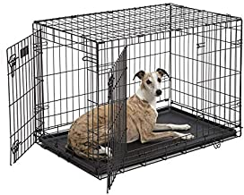 Dog Crate 1536DDU   MidWest ICrate 36 Inches Double Door Folding Metal Dog Crate w/ Divider Panel, Floor Protecting Feet & Leak Proof Dog Tray   Intermediate Dog Breed, Black