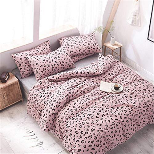LNLN 4-delig bed in herfst en winter katoen 4-delige set eenvoudig en schattig bedrukt katoen 4-delige eenpersoons beddengoed