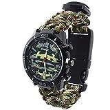 Outdoor-Uhren Multifunktion Tarnung Sportuhr Kompass Thermometer Armbanduhren für Herren Nylonband, Grün