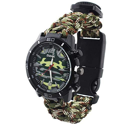 Orologio Uomo da Esterno Multifunzione Orologio Militare da Polso Bussola Termometro Rope Orologio con Cinturino in Nylon Camuffamento, Verde