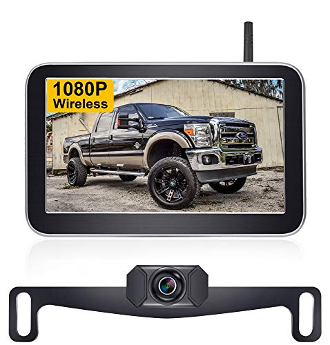 AMTIFO HD 1080P 7 Inch Digital Wireless Backup Camera for Trucks,Cars,Vans,Campers,Hitch Rear View Camera Kit with Stable Signal,DIY Guide Lines - AM-W70