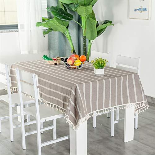 Mantel De Poliéster A Rayas De Color Sólido Y Mantel De Té Multicolor Opcional, Rectangular, Redondo, Cuadrado Mantel 120x120cm