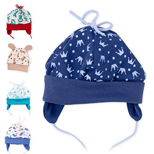 Baby Sweets Baby Mütze für Jungen in Blau als Erstlingsmütze im Motiv Little Prince/Babymütze für Neugeborene & Kleinkinder zum Binden in der Größe: 9 Monate (74)