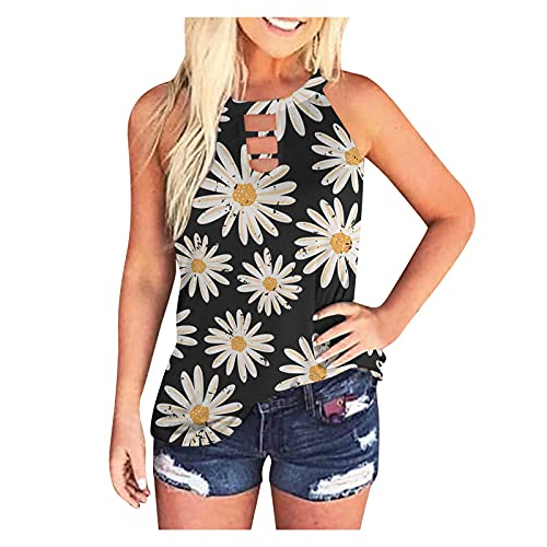 Hotkey Camisetas regatas femininas com estampa de margaridas sem mangas, blusa casual e moderna para o verão, O-01-Branco, P