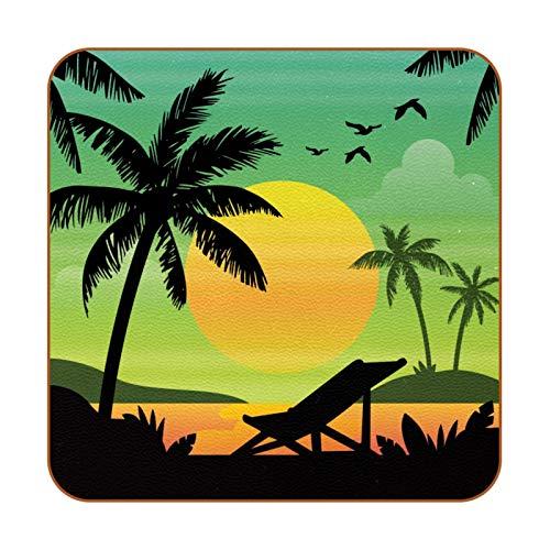 6 posavasos cuadrados de piel de microfibra para bebidas, estilo rústico, decoración del hogar, creatividad, para cocina, sala de estar, palmera, playa, siluetas de atardecer, verde y amarillo