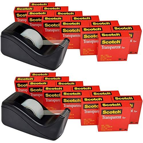 Scotch 透明テープ C60 デスクトップディスペンサー付き 多用途 きれいにカット オフィス 家庭用 3/4 x 1000インチ 箱入り 12ロール ディスペンサー1個 (600K-C60) 2パック