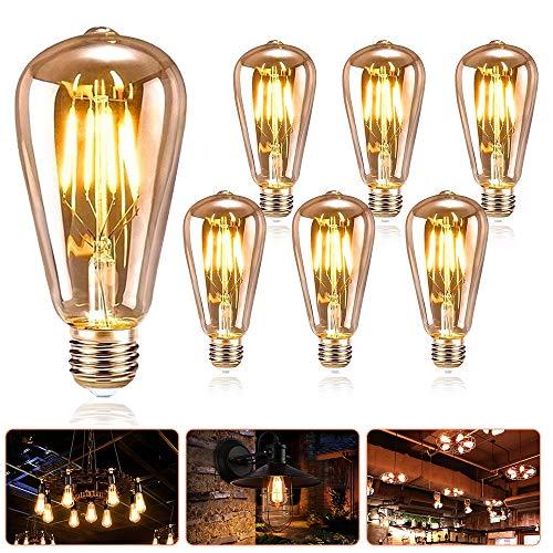 Edison Vintage Glühbirne E27, SANBLOGAN LED E27 Vintage Glühbirne Warmes Licht, Vintage LED Glühlampe ST64, Antike Dekorative Glühbirne 4W Ideal für Retro Beleuchtung im Restaurant Haus Café Bar, 6PCS