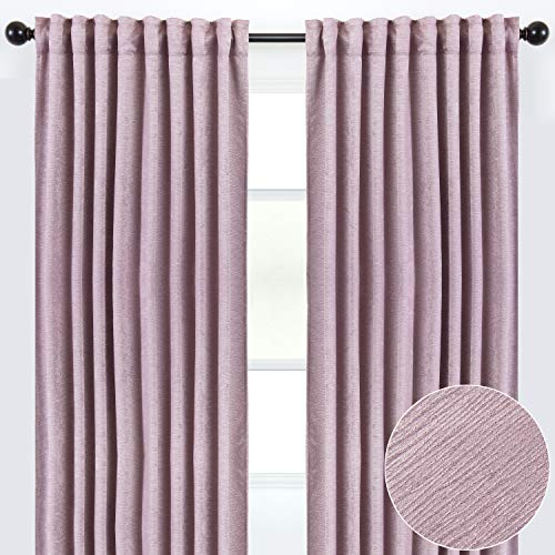 Chanasya 2-Panel Solid Embossed Elegant Textured Curtains for Windows Living Room Bedroom - Luxurious Partial Room Darkening Window Treatment Drapes for Privacy & Decor - 52 x 108 Inch Long - Lavender
