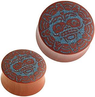 Dilatatore in legno per il viso e il viso in stile guerriero del sole, colore turchese, con inserto in legno di sauno, uni...