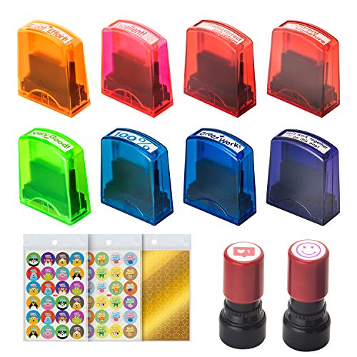 WeeDee Teacher Stamps Self Inking Stamp Set Teachers Reward Stickers Pack Star Sticker - Motivation Teacher Supplies Classroom Supplies Grading Stamp Set for Students Kids