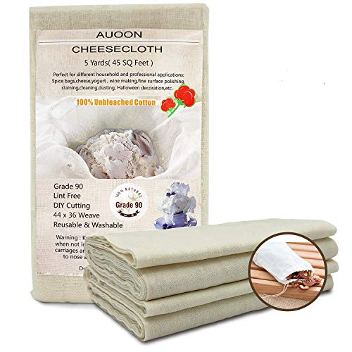 Auoon Grade 90 Cheesecloth, Reusable 100% Unbleached Cotton Fabric, 5 Yards 45 Square Feet Ultra Fine Muslin Cloths for Filter,Butter, Cooking, Strainer, Baking, Steaming