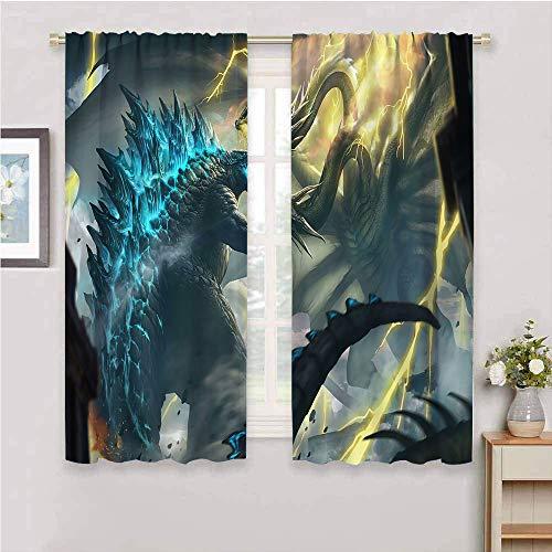 Godzilla Cortina de ventana con bolsillo para barra, cortina Godzilla vs King Ghidorah para dormitorio, baño, sala de estar, cocina, oficina, comedor, decoración de 63 x 72 pulgadas