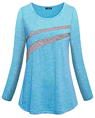 FINMYE Women Performance Long Sleeve Tops, Workout Tshirts Loose Fit Ladies Plus Size Exercise Shirts to Wear with Leggings Solid Athletic Top Drifit Wicking Yoga Outfits Funny Biking Blue XL