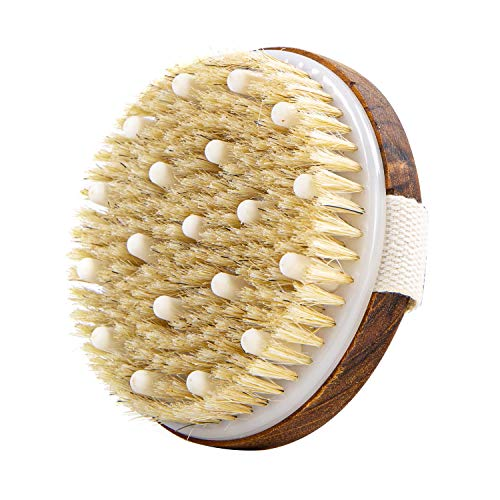 Teak Wood Bath Body Brush for Wet and Dry Brushing, Dry Body Scrubber, Exfoliating Brush Shower Body Brush, Round Dry Brush