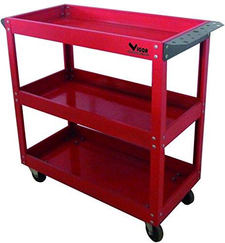 Vigor 3649503 Werkzeugwagen Modell Trolly 3 Etagen, rot