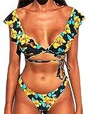heekpek Bikini Brasileño Mujer Sexy Bikini Set Cuello en V Triangulo Bikini Volantes Floral Estampado Bikini Playa