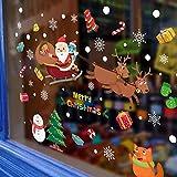 Ardentity Decoration Autocollant Fenetre Noel, Verre Fenêtre Autocollant PVC Autocollant Statique Wall Sticker Fenêtre Fleur Santa Claus Snowflake Post