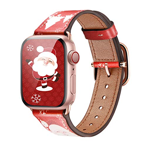 MNBVCXZ Compatible with Apple Watch Band 38mm 40mm 42mm 44mm Women Men Girls Boys Genuine Leather Replacement Strap for iWatch Series 6 5 4 3 2 1 iWatch SE (Christmas/Rose Gold, 42mm 44mm)