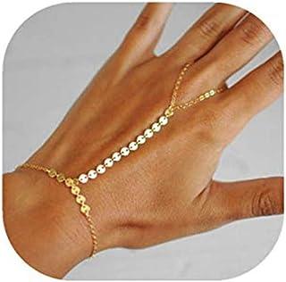 6673a619b75ab FDGJKGDHLD – Bracelet-bague avec chaînes délicates et sequins, doré