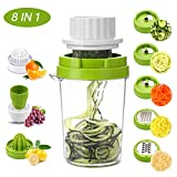 MENNYO Vegetable Spiralizer 8 in 1, Spiraliser Hand Held Mandolin Vegetable Slicer