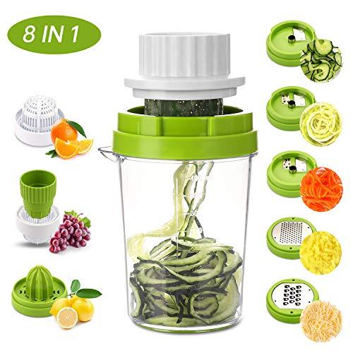 MENNEYO Spiralschneider Gemüse 8 in 1, Gemüseschneider Spaghetti für Gemüsespaghetti, Zucchini, Karotten & Zwiebeln, Gemüsehobel mit Zitronenpresse Handpresse Zitruspresse für Zitronen,Orangen