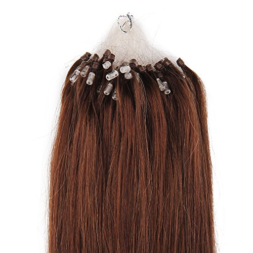 Beauty7 100 Extension de Cheveux Naturel 50 CM Micro Loop Ring EASY LOOP Cheveux Anneaux Pose a Froid Raides/Droits/Laisses Couleur Marron #4 Poids 100g 1g/meche