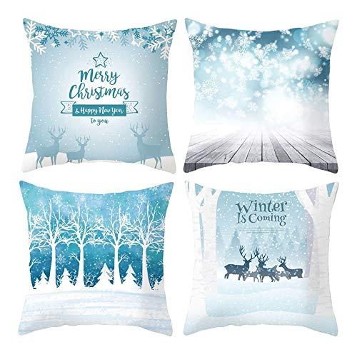 Rubyia Funda de Cojines de Navidad 45X45, Juego de 4 Almohada Navidad, Poliester ( Copos de Nieve Árboles Venado, Azul Blanco )