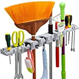 Anybest Utility Mop Broom Holders Wall-Mounted Garden Tool Rack Storage Racks Garage Storage & Organization for Rake or Mop Handles Up To 1.25-Inches with 6 Positions 6 Hooks 2 Tool Platforms