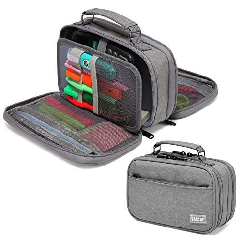 Pencil Case,VASCHY Large Pencil Pouch with Compartments for Middle School,Work,Office Pen Organizer Holder School Supply Gray