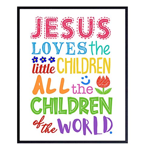 Girls, Boys, Kids Bedroom Decor - Religious Christian Wall Art, Room Decoration - Cute Baby Shower Gift - Jesus Loves the Little Children Bible Verse Wall Art Print - 8x10 Poster Picture
