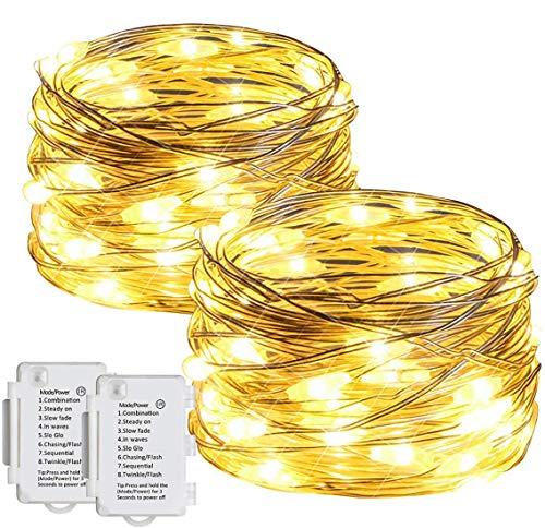 Aloici 50er LED Lichterkette,Batterie Silberdraht Lichterkette, IP65 Wasserdicht LED Lichterketten Außen 8 Modi, Warmweiß Lichterketten mit Timer,für Dekoration Weihnachten,Hochzeitslichterm(2stk)